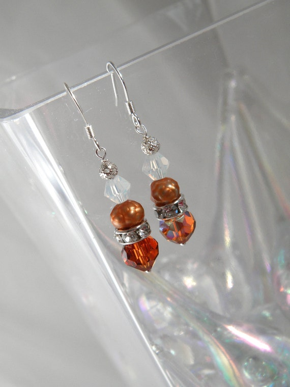 Swarovski and Freshwater pearl Short dangle, Bridesmaids Earrings .Jewelry. Bridal party gift. Tangerine Dark Topaz, Fall  Wedding