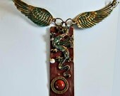Dragon pendant necklace big wings victorian steampunk goth art sculpture created in Michigan