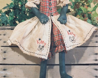 Cloth Doll E-Pattern - 23in Primitive-Folkart Style Girl Cat