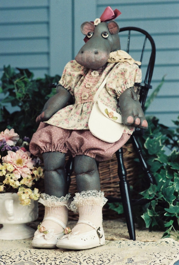Cloth Doll E-Pattern - Adorable Baby Girl Hippo epattern