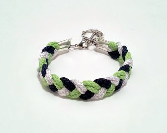 Navy blue, white and green braided nautical rope bracelet with silver anchor charm