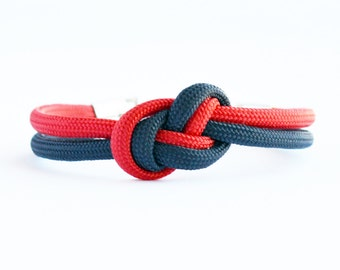 Navy blue and red infinity knot parachute cord rope bracelet