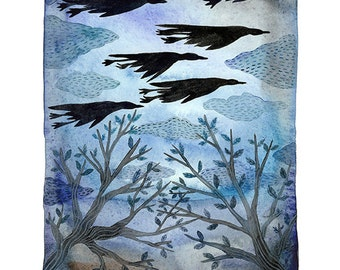 Midnight in the Garden, Geese Print, migrating birds, bird art, giclee print, indigo blue art, watercolor art print