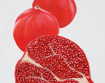 Pomegranate 3D Painting Red Fruit Textured Abstract Botanical Vibrant Kitchen Wall Art Perfect Gift