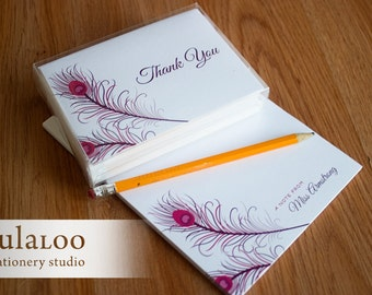 Peacock Feather Personalized Notepad and Stationery Set