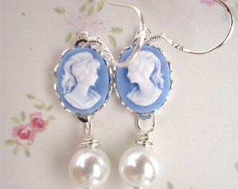 Petite Sky Blue Came Earrings - Sterling Silver