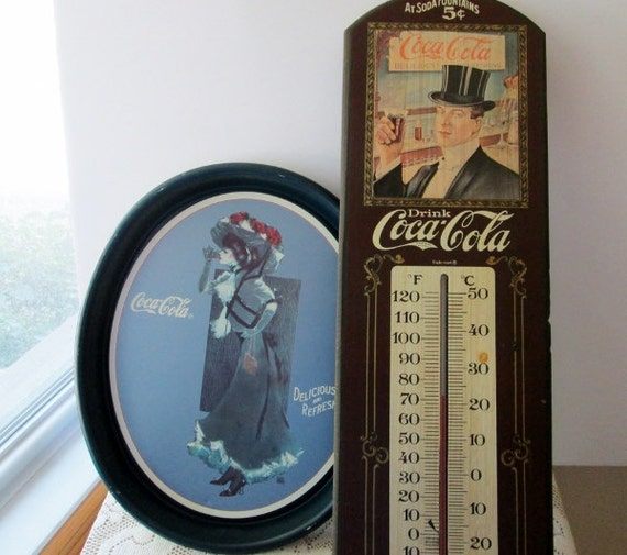 Vintage Tin Advertising Tray, Coca Cola Wood Sign Taylor Thermometer board plaque