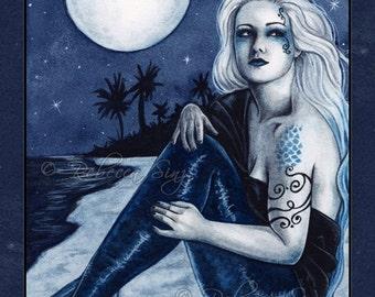 Stargazer 8.5 x 11 Print Gothic Fantasy MERMAID beach Night Moon