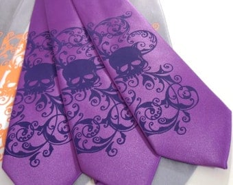 Purple skull tie. mens microfiber necktie, Distressed Skull design by RokGear
