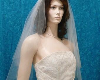 2 tier  elbow length cascading cut bridal veil raw / plain cut edge