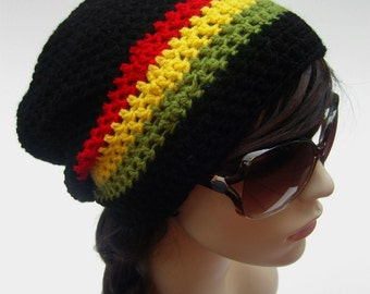 Rasta Slouch Hat Slouch Hat Unisex Slouchy Beanie Red Yellow Green Rastafarian Boho Hat Hippie Hat Jamaica Oversize Hat - MADE TO ORDER