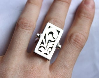 """Statement ring 2 in 1 Necklace and Ring made of Sterling silver, convertible, Ornamental Floral  design, """"Metamorphosis"""""""