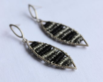Leaf shape entanglements Earrings made of Sterling silver and copper, Long and dangle earrings
