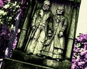 Gothic Haunting Edwardian Husband Wife Fine Art Photography Cemetery Tombstone Portland Oregon Greeting Card ETERNAL LOVE by Spinning Castle