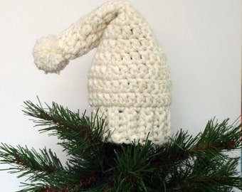 Stocking Hat Tree Topper, Crochet Christmas Decoration, Cream Sparkle, Holiday Decor