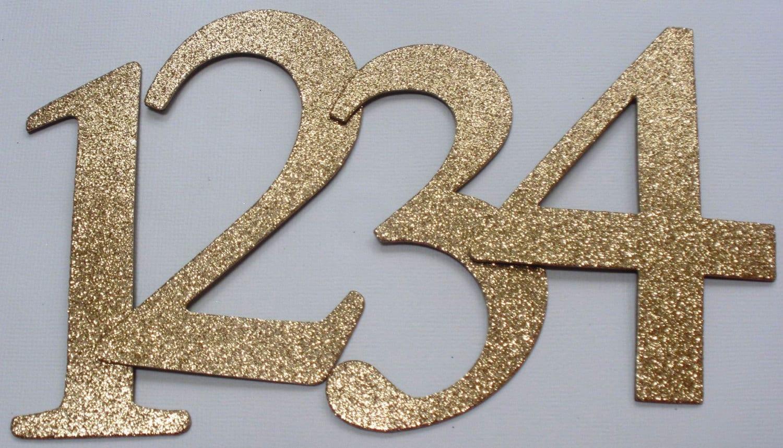 4 Wedding Table Numbers GLiTTER Top Coat By GlitterDustDesigns