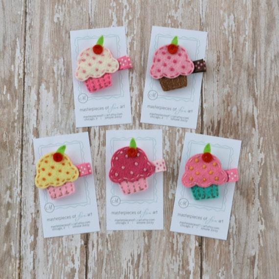 Cupcake Felt Hair Clips - Set of 5 Clippies - Pink, Chocolate, White, Lemon, Turquoise - A cute birthday girl clip or birthday party favor