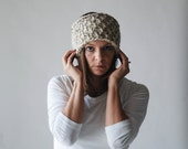 Crochet Textured Headband / THE WETASKIWIN / Oatmeal - ozetta