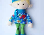 Plush Elf, ''Misfit'Elf, Cloth Doll, Christmas Elf Doll, Elf Doll  - Arthur