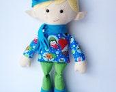 Plush Elf, ''Misfit'Elf, Cloth Doll, Christmas Elf Doll, Elf Doll  - Arthur