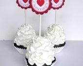 Valentine Cupcake Toppers -Hugs and Kisses,  Set of 12