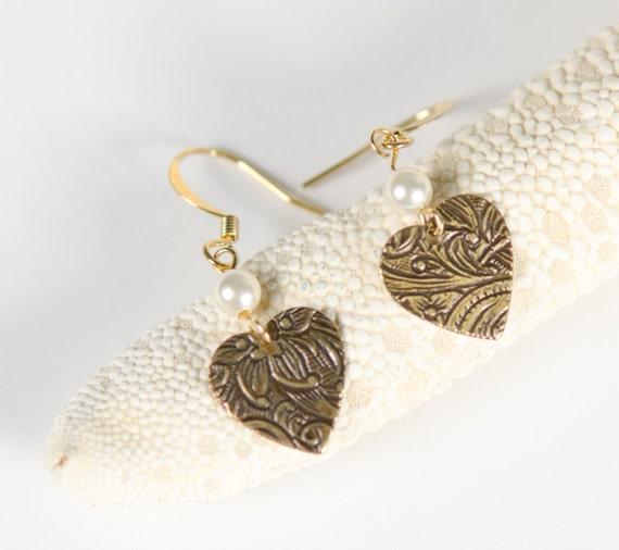 Heart Earrings, gold, pearl, delicate, dangle, stamped, floral, charm, Swarovski love, Handmade in Santa Cruz