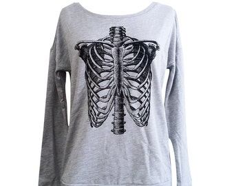 Ribcage Sweater - Anatomical Skeleton Long Sleeve Scoop Neck  - Ladies Sizes S, M, L, XL