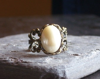 Glass pearl filigree ring, antique brass ring, adjustable ring