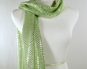 Holiday - Lime Party Scarf - Lime Green Long Scarf - Lime Sequin Scarf - Shiny Lime Sequin Scarf - Dressy Long Scarf - Lime Sequin Wrap