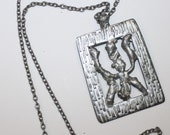 Vintage Viking, Bind Rune, Gilch symbol,Wealth and prosperity,good luck, TINN Pewter Pendant Necklace,made  by TINN  Norway, midcentury