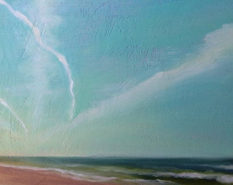 Beach, Sky and Contrails, Framed Original Seascape oil painting