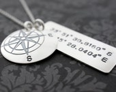 Custom Coordinates - Traveler Necklace in Sterling Silver - Compass Pendant w/ Latitude Longitude Coordinates by EWD