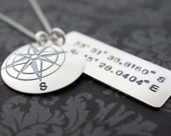 Graduation Gifts - Custom Coordinates - Traveler Necklace in Sterling Silver - Compass Pendant w/ Latitude Longitude Coordinates by EWD