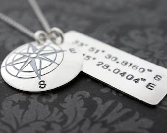 Custom Coordinates - Traveler Necklace in Sterling Silver - Compass Pendant w/ Latitude Longitude Coordinates by EWD
