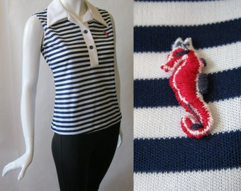 Red, white, and blue nautical style shirt, polo style, with seahorse embroidered logo, sleeveless, 1970's, in navy blue and white, medium