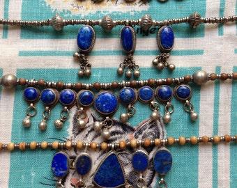 Vintage lapis lazuli Afghani necklaces.