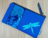 Wallet - Purse - Pouch - Two Zip Pockets - Coin Purse - Blue - Navy - Teal - Emerald Green - Dragonfly