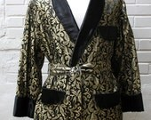 Vintage 60s Gold tone Brocade Smoking Jacket L - soulmanvintage
