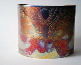 Etched copper badger cuff bracelet