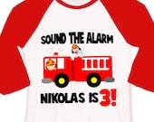 birthday firetruck  / little fireman shirt kids personalized birthday baseball raglan shirt
