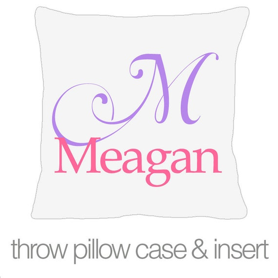 Custom kids name personalized throw pillow with pillowcase made to match bedroom colors