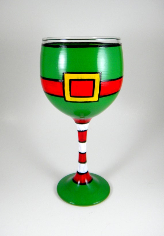 Elf wine glass hand painted Christmas by ImpulsiveCreativity