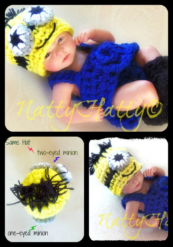 Crochet Patterns For Baby Overalls : Despicable Me Minion Crochet Hatboots and Diaper Cover