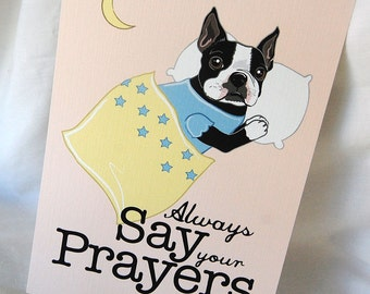 Praying Boston Terrier - 5x7 Eco-friendly Print