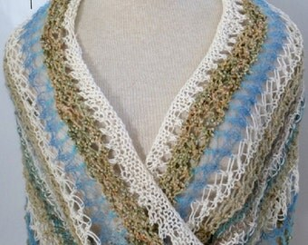 Knitted Summer Shawl / Womens Mobius Wrap/ Rodarte Inspired / One Size fits All / Ocean Beach