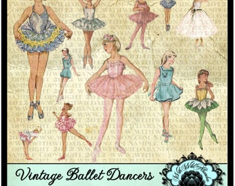 Ballet Dancer Vintage Little Girl Clipart, sweet, delicate and femine and perfect for birthday party invitation or other little girl projec