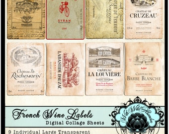 Vintage French Wine Labels, Clipart  in ACEO or ATC Size. Scrapbook Tag, Truth Cards, Gift Tags, or Digital Collage Sheet