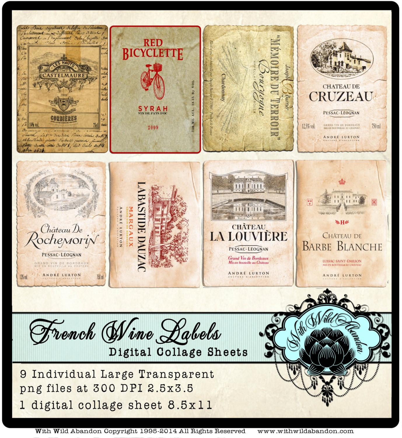 Vintage French Wine Labels Clipart in ACEO or ATC Size.