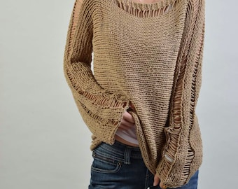 Hand Knit Woman Sweater - Eco Cotton sweater in Wheat - ready to ship