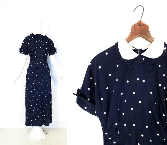 1940s Polka Dot Dress / Vintage 40s Dress / Double Bow Dress / XS S